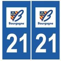 Autocollant plaque immatriculation auto département 21 Côte d'Or