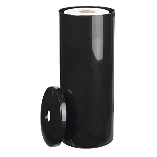 mDesign Toilettenpapierhalter stehend - eleganter Klopapierhalter mit Deckel für bis zu 3 Rollen - Toilettenrollenhalter aus schwarzem Kunststoff - ideal für kleine Räume