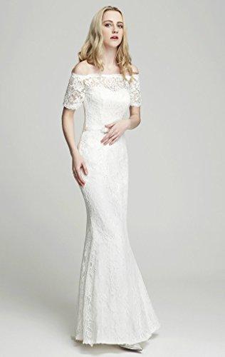 Brautkleid mit Spitze / U-Boot Ausschnitt , Ivory - 3