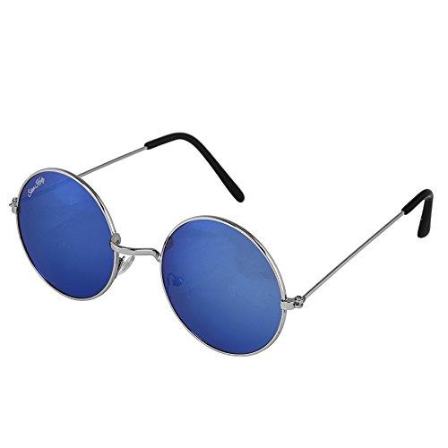Silver Kartz Blue Mercury Silver Metal Round Shiny Frame Round Sunglasses (wc131)