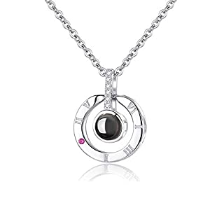 ANYOYO Gift for Mother's Day Women Necklace Clavicle Necklace 100 Languages I Love You Heart Pendant with 18inch Chain Best Gift Set for Her Women Mum Girlfriend Daughter Valentine's Day Silver