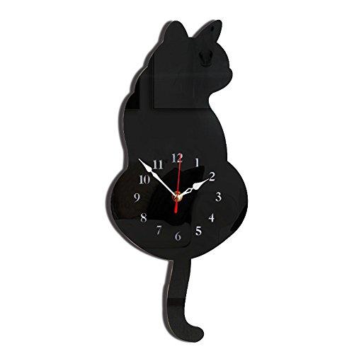 Exclusky Reloj de pared reloj de acrílico creativo reloj Gato en forma de rayada decoración de la cola para sala de estar Sala de niños cocina de oficina sin batería 42 * 18cm 2 colores (Negro)