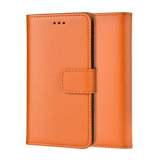 Ameego Premium Genuine Real Leather Flip Wallet Magnetic Kickstand Slim Book Case Cover for Samsung Galaxy Note 3 N9000 N9005 Leather Wallet Book Flip Case Cover (Orange) - Leather Galaxy 3 Case Wallet Note