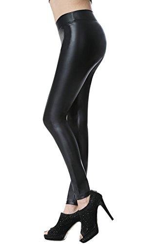 Everbellus Sexy Leder Leggins für Damen Stretch Skinny Hose Schwarz Large