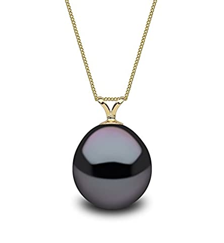 Kimura Pearls 9 ct Yellow Gold Black 9 mm Drop Shape Cultured Freshwater Pearl Pendant on 40 cm Curb Chain