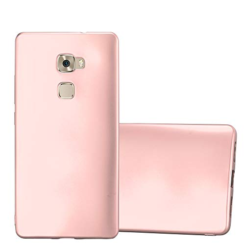 Cadorabo Hülle für Huawei Mate S - Hülle in METALLIC Rose Gold - Handyhülle aus TPU Silikon im Matt Metallic Design - Silikonhülle Schutzhülle Ultra Slim Soft Back Cover Case Bumper