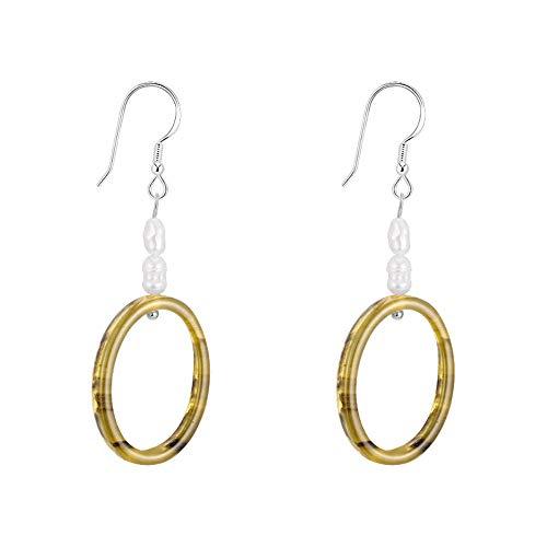 Ohrringe für Mädchen/Ohrringe, 925 Silber Nadeln, handgefertigt, Vintage, sanfte Tee-Farbe, geometrisches Plankton und zwei Hirse-Ohrringe -