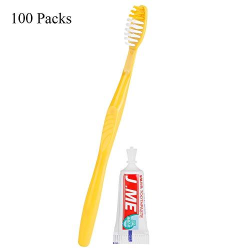 Tabanlly Einweg-Zahnbürsten und Zahnpasta, einzeln verpackt, für Reisen und Zuhause, 1 Stück 100 Pcs -