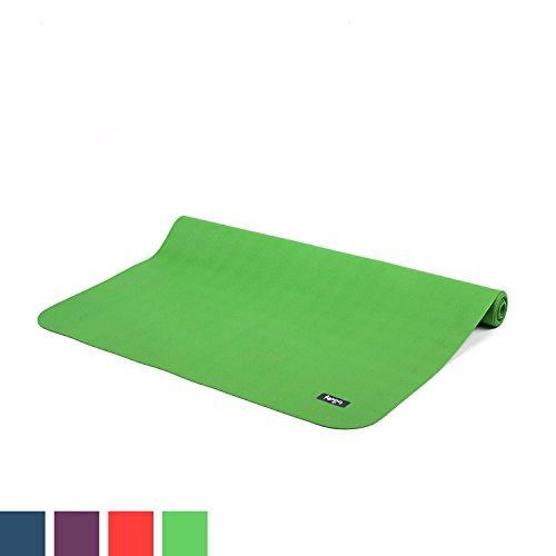 Reise-Yogamatte ECOPRO TRAVEL, Antirutsch-Yogamatte, 1,3 mm superleicht & faltbar, extrem rutschfest, Natur-Kautschuk (schilf-grün)