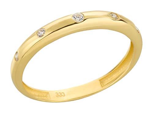 Ardeo Aurum Damenring aus 333 Gold Gelbgold mit Zirkonia im Brillant-Schliff Antragsring Verlobungsring (Gold 14k Ringe Schmuck)