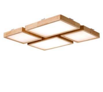 LWYJRXDD Deckenleuchte/Moderne LED-Deckenleuchte-Lampen-Panel-Wohnzimmer-Hölzerne Quadratische Hall-Oberflächen-Berg-Erröten-Befestigungsmittel-Schlafzimmer-Fernbedienung, D, Rc Dimmable