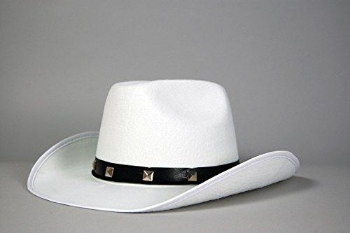 WEISS MIT NIETEN HUT COWBOY WILDER WESTEN TRAMPAS STETSON COWGIRL-KOSTÜM (Weißer Filz Cowboy Hut Kostüm)
