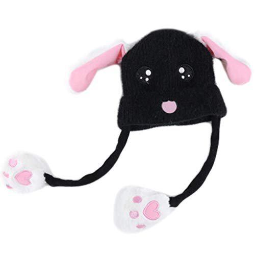 Gwxevce Kleinkind Kids Cute Rabbit Face Stickerei Strickmütze mit Airbag Moving Ears Winter Warme Dicke Plüsch Puppe Beanie Cap Geschenke 1-10 T
