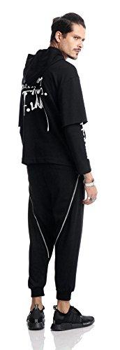 Pizoff Unisex Hip Hop Fake Two-Pieces Design Kapuzenpullover mit halbem Reißverschluss und Druckmuster AC002-Black