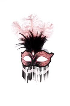 Venezianische Maske mit Perlen, Rosa/Schwarz