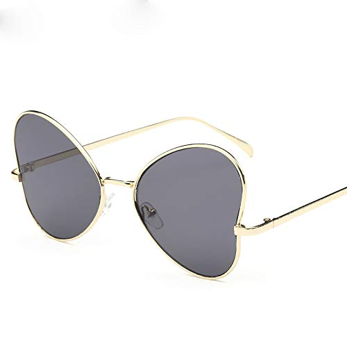 FGKING Fashion Big Box Vintage Sonnenbrille, Flat Lens Sunglasses Metal Frame mit Spring Hinges 400UV-Schutz für Damen Männer,B