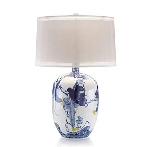 GBY - lampe de table Lampe en porcelaine - grande lampe de table en céramique peinte à la main bleue - salon et chambre à coucher chinois