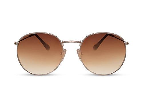 Cheapass Sonnenbrille Rund Braun Gold UV-400 Retro Vintage Metall Damen Herren (Damen Metall)