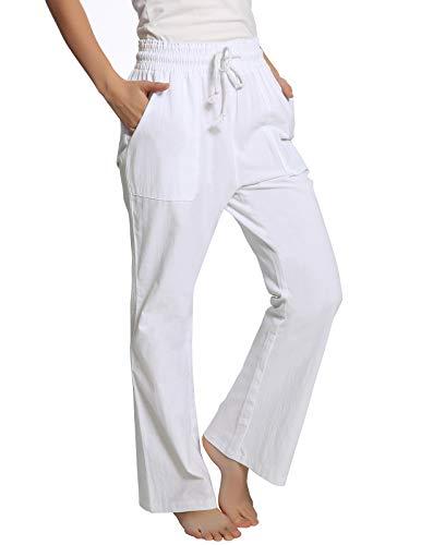 ANGGREK Pantalones Lino Mujer Elástico Yoga Bolsillo