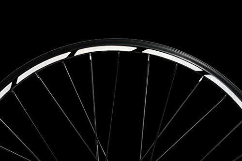 Reflektoren-Aufkleber fürs Fahrrad - 40 Streifen im Set - optimal für 27,5″ 28″ und 29″ Felgen - Farbe schwarz (weiß reflektierend) - hochwertige Sticker aus robuster 3MTM Qualitäts-Reflexfolie