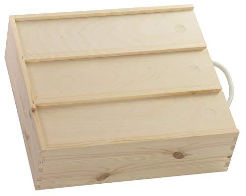 LAUBLUST Holzkiste für 3 Weinflaschen - ca. 35 x 32 x 11 cm, Natur, FSC® - Weinkiste mit Schiebe-Deckel & Trageseil -