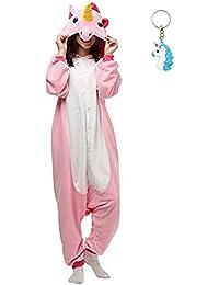 Landove Pijama de Una Pieza Adulto Unisexo Trajes Animales Mono Cosplay Kigurumi Onesie con Capucha Jumpsuit Romper Ropa de Dormir para Mujer…