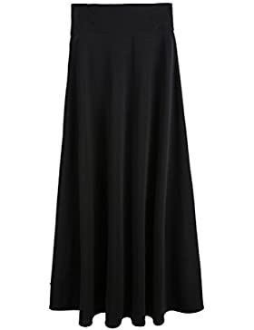 LUOEM Falda larga de mujer Shirring Maxi Skirt Large Falda larga - Talla L (Negro)