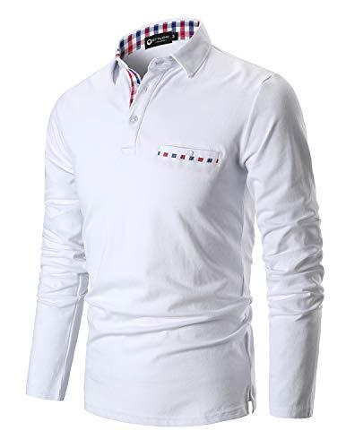 cd7a22d011f6 STTLZMC Poloshirt Herren Langarm Basic T-Shirt Freizeit Plaid spleißen  Polohemd,Weiß,M
