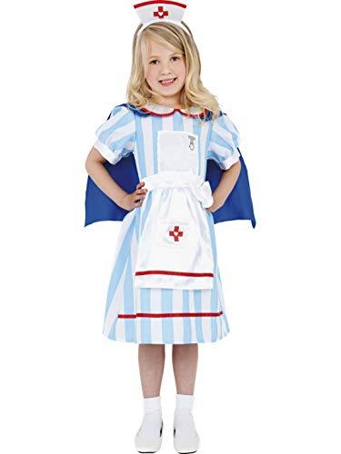 (Halloweenia - Mädchen Kinder traditionelles Krankenschwester Kostüm mit Kleid, Umhang und Haube, perfekt für Karneval, Fasching und Fastnacht, 104-116, Blau)