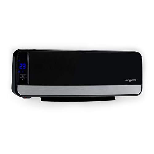 Oneconcept wallkyrie - radiatore a parete, resistenza a 2 stadi: 1000/ 2000w, temperatura 10-49°c, termostato, protezione da surriscaldamento, ventilazione automatica oscillante, ipx2, nero