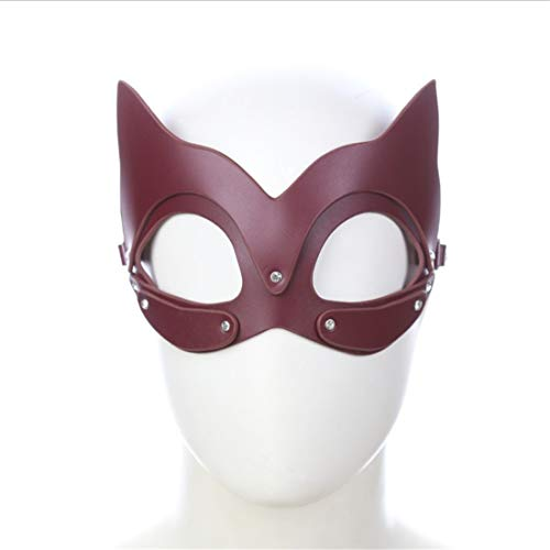 WAVENI Fox und Katze Maske Cosplay Zubehör Maske Sex Spielzeug Masked Masquerade Kostüm Maske (Color : Wine red, Size : Fox cat mask)