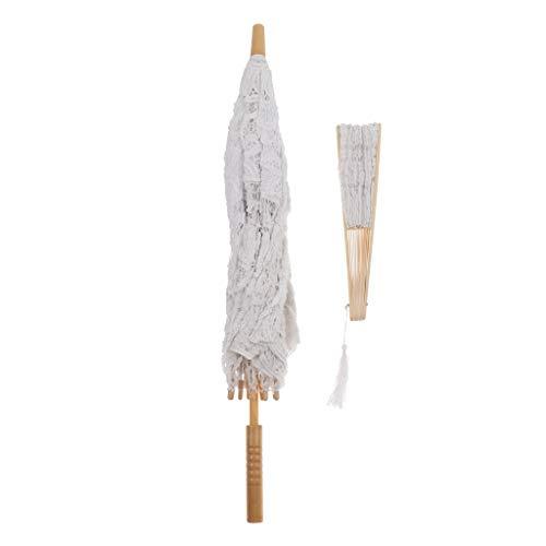 non-brand MagiDeal Parapluie et Éventail en Dentelle Coton pour Mariée Décoration de Mariage Accessoire de Photographie - Blanc