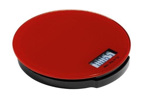 Premier Housewares Zing Elektronische Küchenwaage aus Glas, rund, 2 kg, 3 x 16 x 16 cm, rot