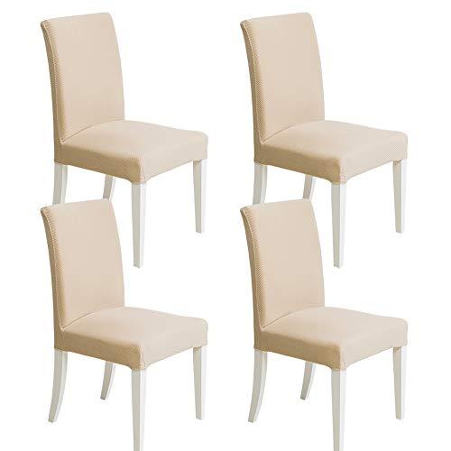Miulee 4 pezzi coprisedie con copertura della sedia coprisedili elastico coprire moderni sedia coprivasi elastico hotel ristorante decor cafe copertura della sedia colore leggero