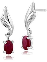 Gemondo Bague Boucles d'oreilles rubis or blanc 9carats, 0,64carats Rubis et Diamant-Boucles d'Oreilles Pendantes Femme -