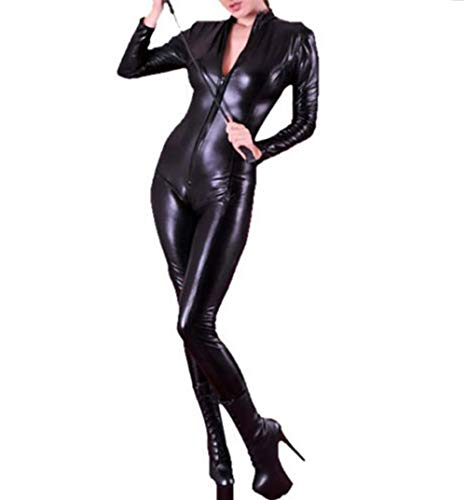 (WWANGYU Frauen Erwachsene Halloween Cosplay Engen Bodysuit Unitard Faux Leder Reißverschluss Playsuit Sexy Party-Clubwear-Outfit)