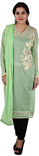 Raj Nandini Suits & Sarees Women's Chanderi Silk Semi Stitched Salwar Suit Set(RajNandini06 _ P