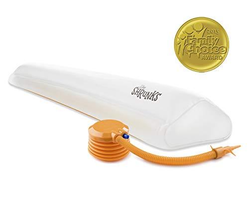 The Shrunks® aufblasbarer Bettrand - Rausfallschutz für Kinder ab 2 Jahren - Zu Hause oder auf Reisen, Weiß, Einzelpackung für eine Bettseite 122x18x5 cm