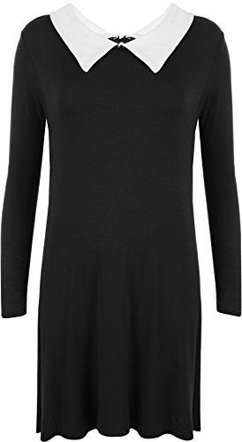 WearAll - Grande taille robe swing avec col et à des manches courts - Robes - Femmes - Tailles 42 à 56 Noir