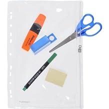10 x Foldersys Gleitverschlusstasche 305x213mm (keine A4 Blätter) PVC mit Lochung klar