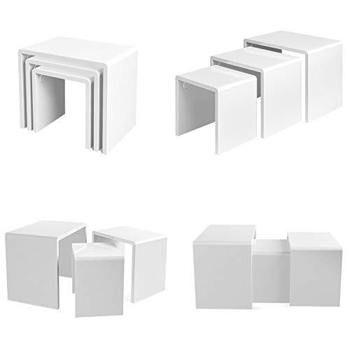Mesa de centro de madera blanca 2 + 1 nido de 3 mesas nido mesas multifuncional mesa auxiliar sala de estar mesa final 3 unidades