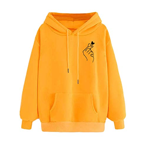 Sweat Femme avec Capuche Hiver Chaud Imprimé Heartbeat Sweat-Shirt Manches Longues Poches Hooded Pullover Casual Tops Youngii(D Jaune,XL)