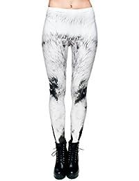 Leggings à motifs, legging jegging pour femme jeune fille sexy lady girl pantalon caleçons moulants imprimé sportifs féminins qui vont de la taille aux chevilles collants sans pieds ou caleçon, choisir:LEG-040 loup