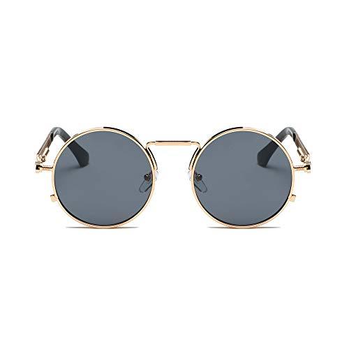 REALIKE Unisex Sonnenbrille High-Mode Neon Farben klare Linse Gläser Metall Brillengestell Klassische Rund Rahmen Brille Sunglasses Übergroße Travel Eyewear (Farbe : A-G) (Gold Reise Kostüm Star Wars)