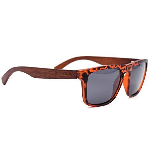 LEMIEL - DIE ÖKO-HOLZBRILLE - Hochwertige Sonnenbrille aus Echtholz - Polarisiert - Damen & Herren - Bambus-Etui - UV 400 - BUY ONE. PLANT ONE. (Birnbaumholz - schwarze Linsen)