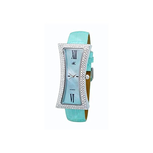 ADEE Kaye Women's Curvy Blue Leather Band Brass CASE Quartz Watch AK9715-LBU
