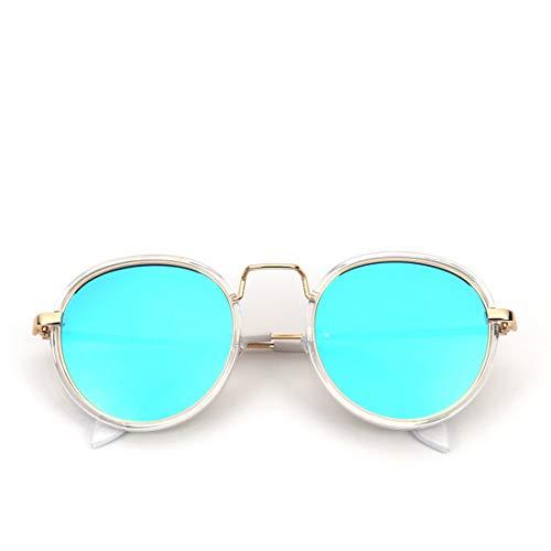 Shiduoli Kleiner Kreis Sunglasses für Frauen Vintage Runde polarisierte Hippie-Sonnenbrille (Color : White Frame/Blue Lens)