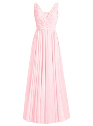 Dresstells Damen Lang Chiffon V-Ausschnitt Abendkleider Brautjungfernkleider Rosa