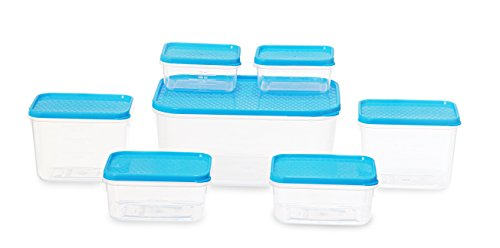All Time Plastics Polka Container Set, 7-Pieces, Blue