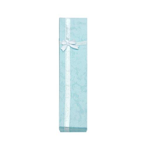 IMHERE W U Halskette Schmuck Armband Prägung Schleife Geschenk Box, blau, 21 * 4.3 * 2cm / 8,26